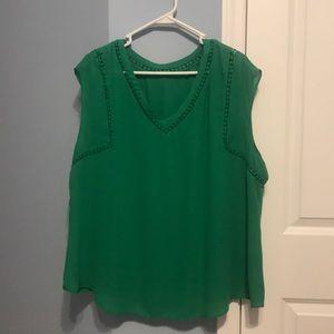 41 Hawthorn kelly green cap sleeve blouse